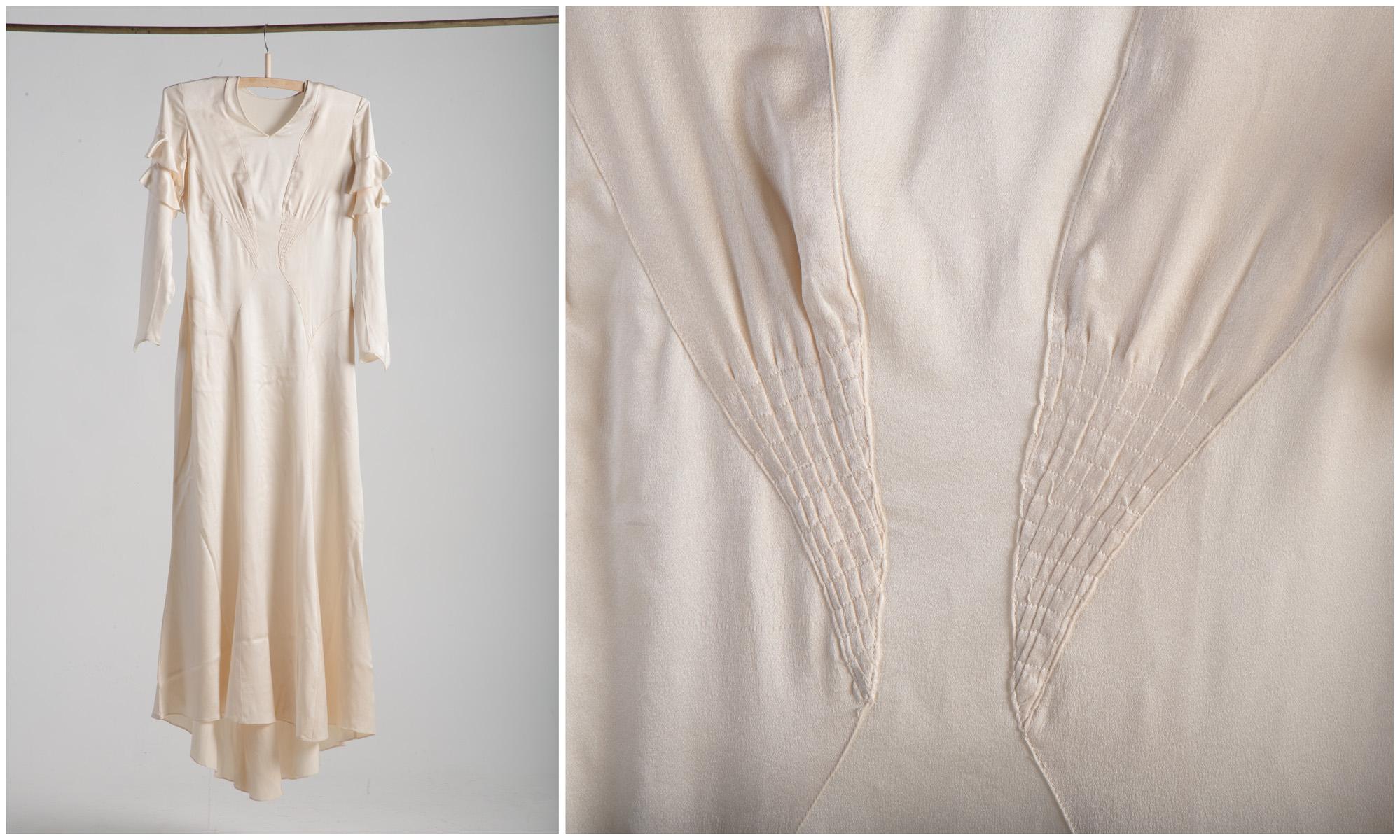 1b7bbe0b55d ERM A 913:86 Pulmakleit, 1934 (Tallinn). Põllutööministeeriumi  raamatupidaja ja Kihlepa kodumajanduskooli juhataja pulmas kantud kleit.