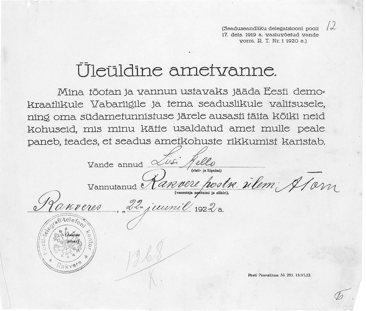 ametivanne 1922