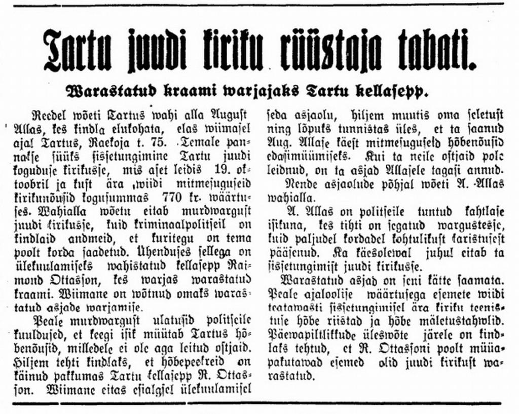 Tartu juudi kiriku rüüstaja tabati